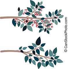 Simple Tree Branch - Abstract cartoon tree branch in flat...