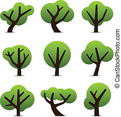 Simple tree icons - Set of 9 tree icons in simple shapes and...