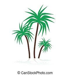 simple, tropical, verde, árboles de palma, símbolos, eps10