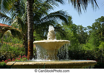 simple tropical water fountain with water erupting from the...