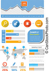 Simple Ui kit flat infographic elements