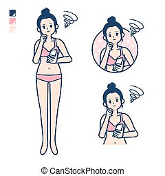 simple underwear woman smartphone sigh - A young woman in a ...