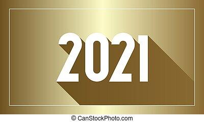 simple, unique, année, nombre, conception, nouveau, texte, 2021, plat, illustration
