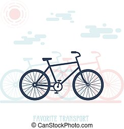 simple, vélo, silhouette, illustration