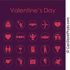 simple, valentino, conjunto, día, iconos
