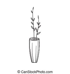 Simple vase with twigs in the sketch style