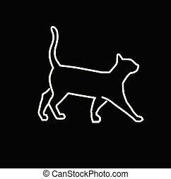 simple, vecteur, contour, illustration, chat