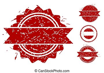 Simple Vector 4 Style Red Blank Circle Rubber Stamp Effect, isolated on white