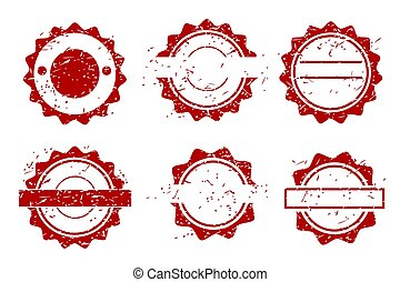 Simple Vector 6 Style Red Blank Circle Rubber Stamp Effect, isolated on white