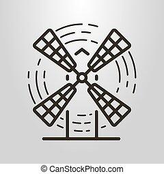 simple, vector, arte de línea, símbolo, de, el, molino de...