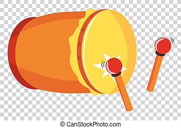 Simple Vector Bedug or beduk, Indonesia Traditional Drum and stick at transparent effect background