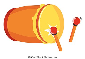 Simple Vector Bedug or beduk, Indonesia Traditional Drum and stick