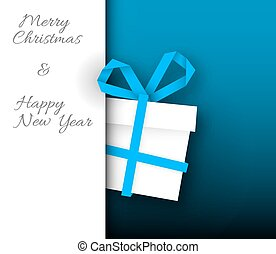 Simple vector blue christmas card with gift box