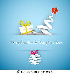 Simple vector blue christmas card