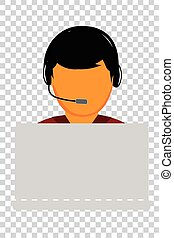 Simple Vector, Call Center or Customer Service Man with Gray...
