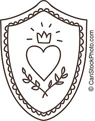 simple vector cartoon shield with royal coat of arms
