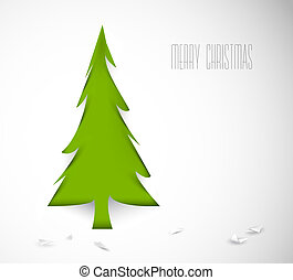 Simple vector christmas tree cut out from white paper -...