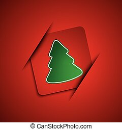 Simple vector christmas tree on red background, marry...