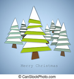 Simple vector christmas trees made from green and white paper