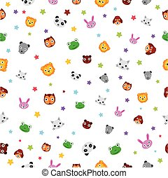 Simple Vector colorful Seamless Pattern Star, Baby Animal Face, Owl, Mouse, Frog, Tiger, Dog, Cat, Panda, Rabbit, Bear for background, banner wrapping paper, curtain etc