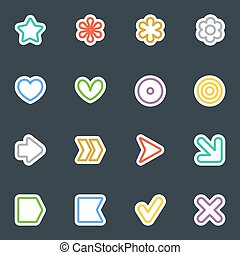 Simple vector contour style stickers icon set