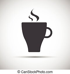 Simple vector cup of coffee icon isolated on white background