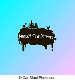 vector flat art illustration of black smear with merry ...