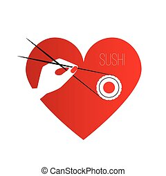 Hand holding a piece of sushi maki with Chopsticks. Composition in the shape of a heart.