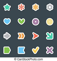 Simple vector flat style stickers icon set on dark
