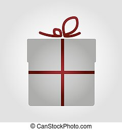 Simple vector gray gift with dark red ribbon