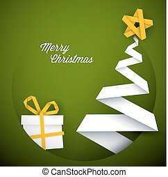 Simple vector green christmas card illustration