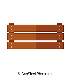 Simple vector icon for wooden box in flat style on white background.