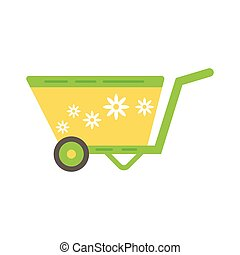 Simple vector icon of green barrow with daisy.