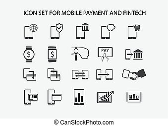 Simple vector icon set for mobile payment and electronic payment.