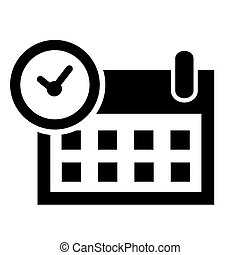 Simple Vector Icon Sign Time and Date, element design for event announecement or invitation, Isolated on White