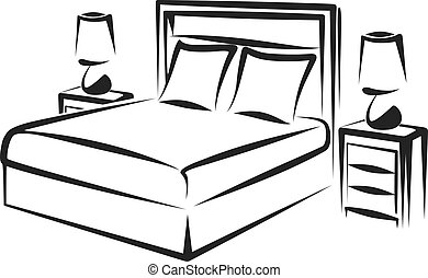 bedroom - Simple vector illustration of a bedroom interior