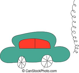 Simple vector illustration of a blue car with red windows on whiye background