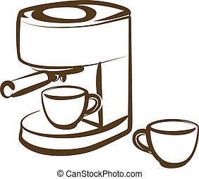 coffee machine - Simple vector illustration of a coffee ...