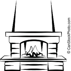 fireplace - Simple vector illustration of a fireplace sketch