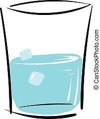 Simple vector illustration of a glass with water and ice cubes on white background