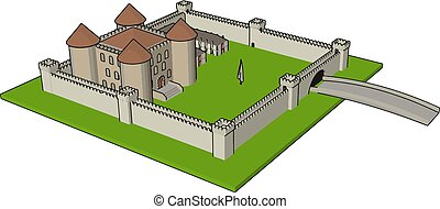 Simple vector illustration of a medieval castle with fortified wall and towers white background