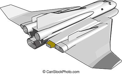 Simple vector illustration of a space shuttle on white background