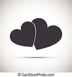 Simple vector illustration of a two hearts icons