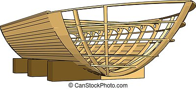 Simple vector illustration of a wooden keel white background