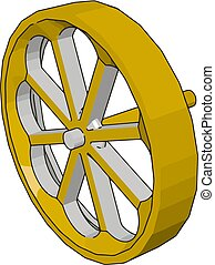 Simple vector illustration of a yellow wheel white background
