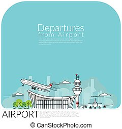 simple vector illustration of airplane take off for ...