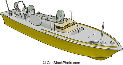 Simple vector illustration of an yellow and grey navy ship white baclground