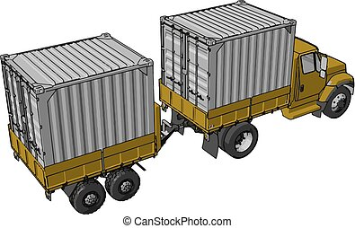 Simple vector illustration of an yellow container truck with trailer white background