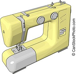 Simple vector illustration of an yellow sewing machine white background