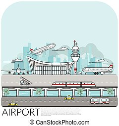 simple vector illustration of busy airport  terminal with ...